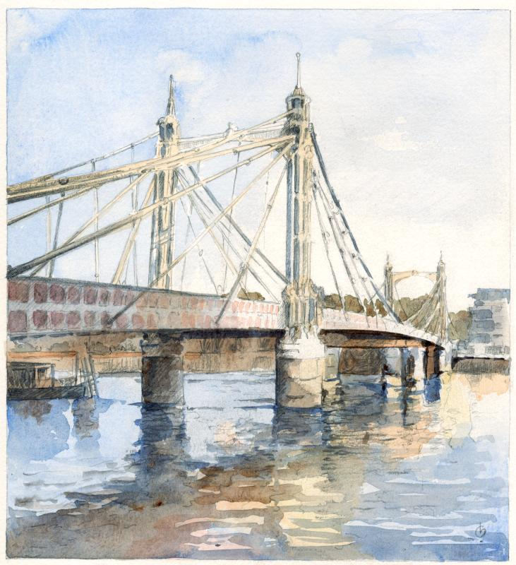 Albert Bridge London - a watercolour by Christina Bonnett