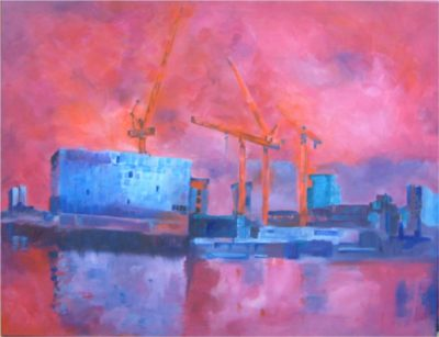 Cranes on Thames Acrylic painting