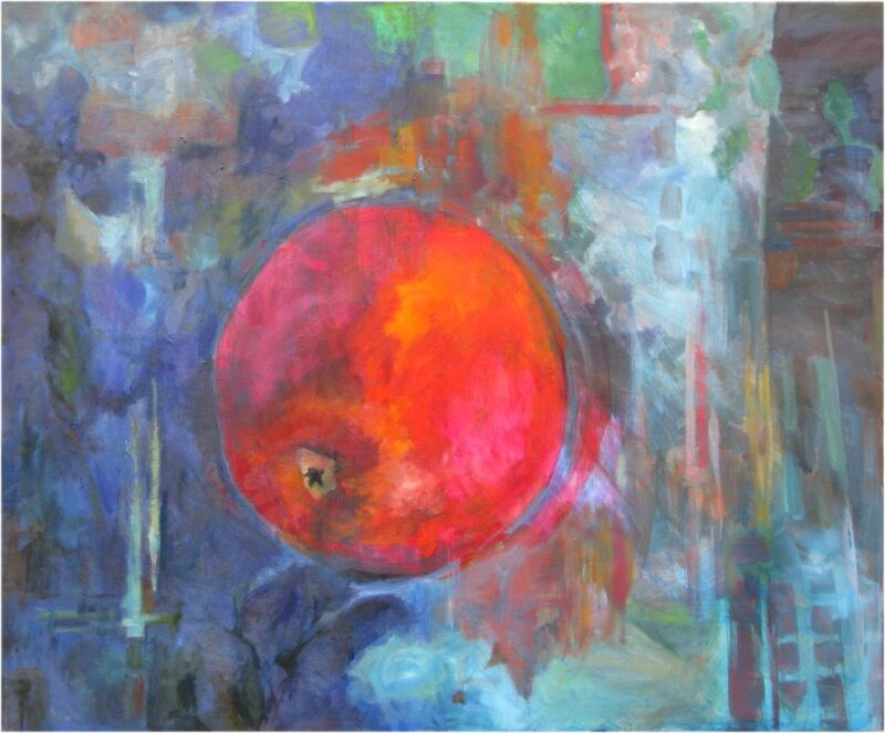 Falling Apple oil painting