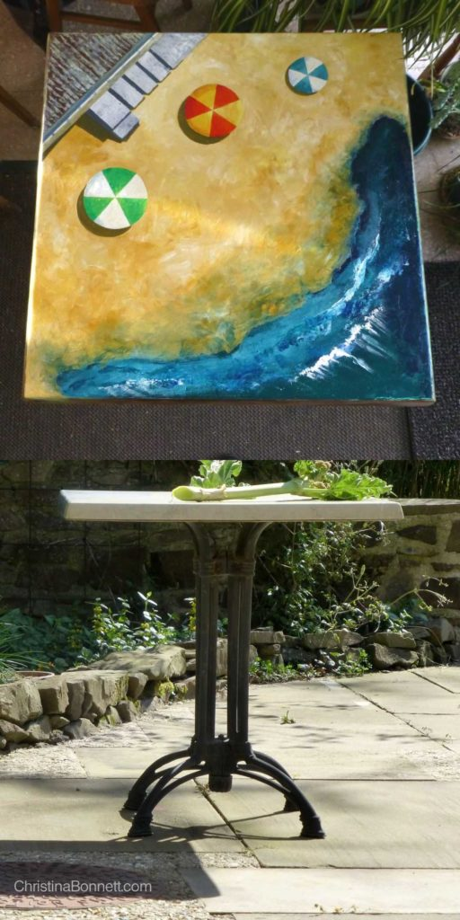 Painted top and Original table with cast iron legs