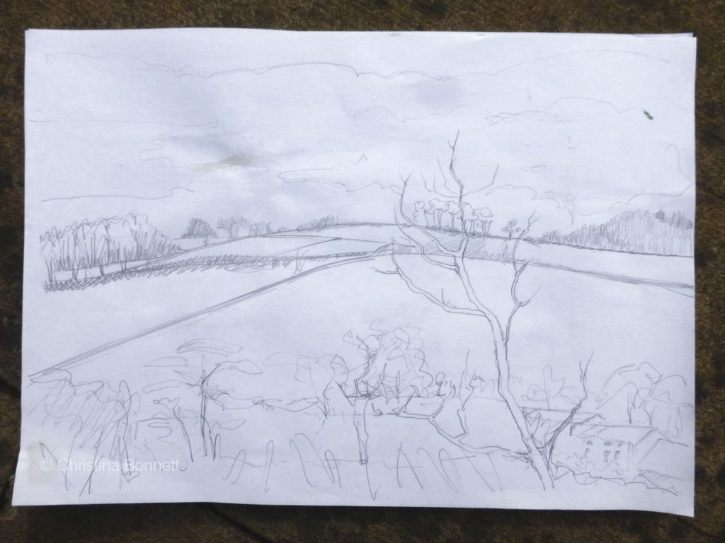 Landscape sketch Devon