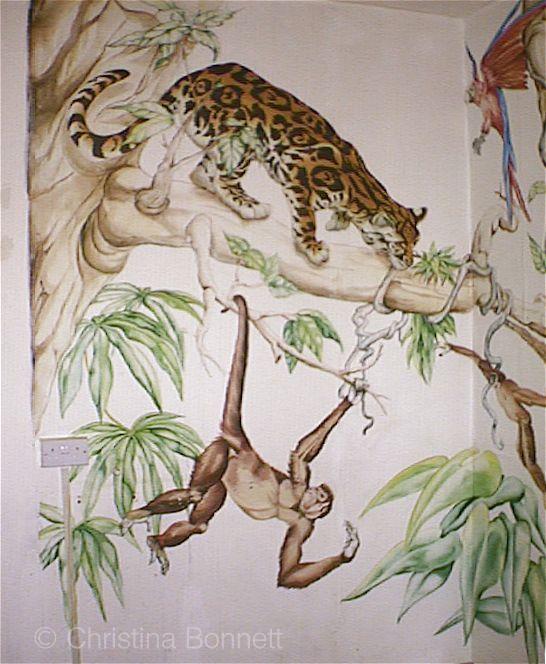 Jungle mural cheetah and monkey by Christina Bonnett