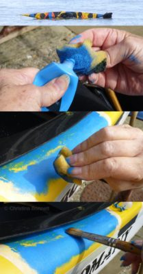 Painting Blue on yellow