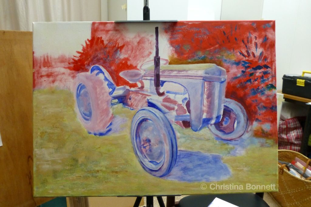 Sketching Tractor colours and background