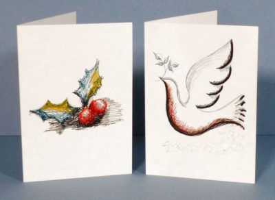 Dove and Holly Greeting Cards