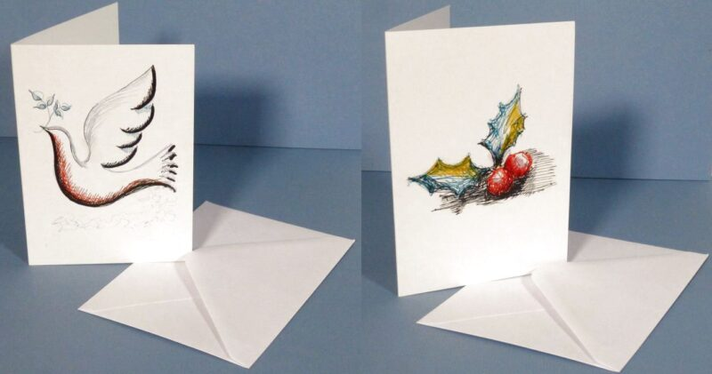 Dove and Holly Greeting Cards with envelope
