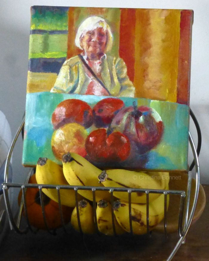Portrait of mother on banana easel