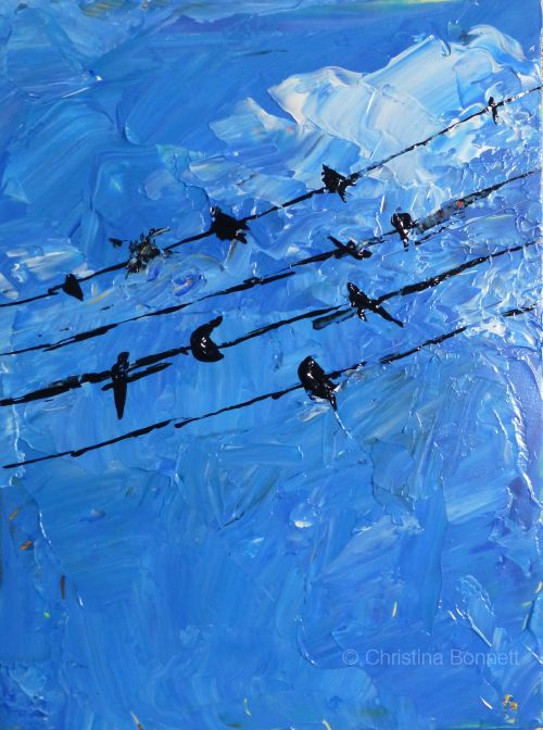 Swallows Gather on wires painted sketch