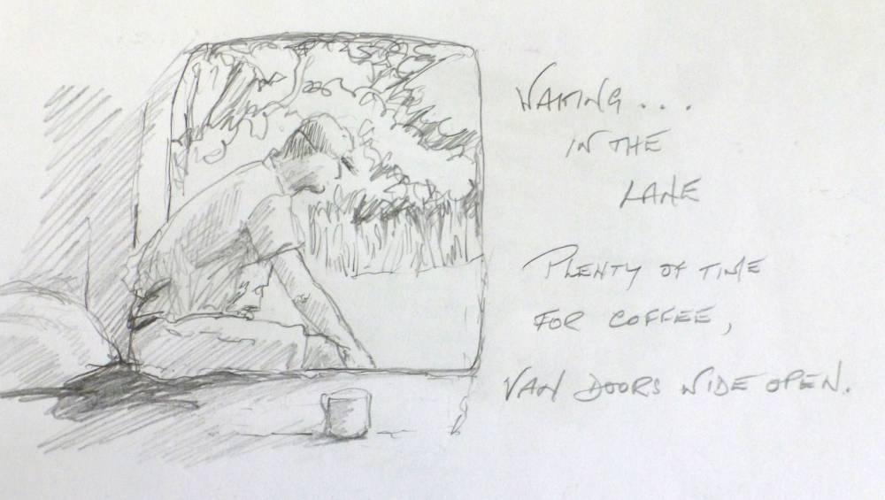 Coffee in the van sketch